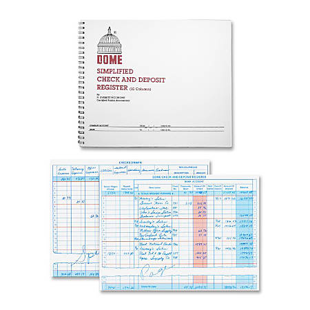 """Dome® Simplified Check And Deposit Register, 10 1/4"""" x 8 1/2"""", Gray"""