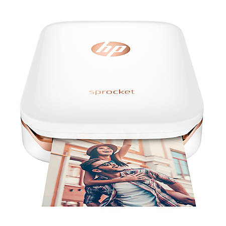 "HP Sprocket Portable Photo Printer, Print Social Media Photos On 2""x3"" Sticky-backed Paper - White (X7N07A)"