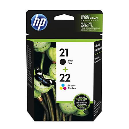 HP 21/22 Black/Tricolor Ink Cartridges (C9509FN), Pack Of 2