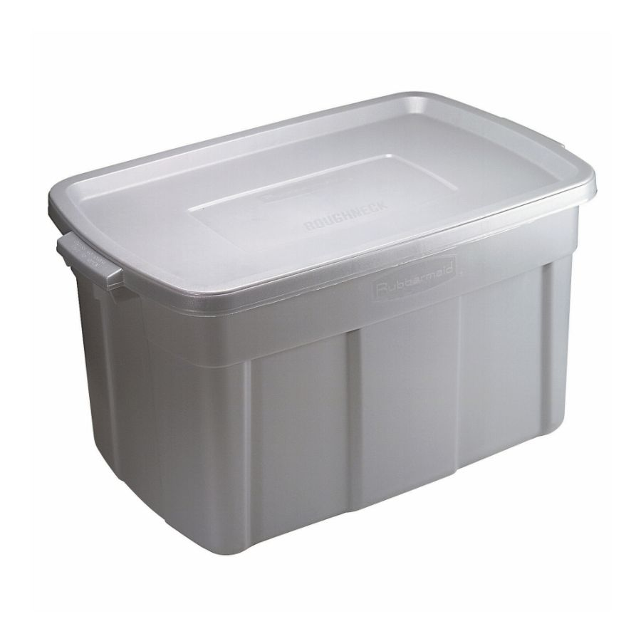 Rubbermaid Roughneck Storage Tote 31 Gallons Silver by Office Depot