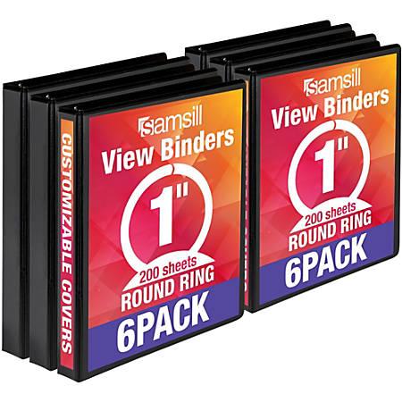 "Samsill Value Round Ring View Binder - 1"" Binder Capacity - 225 Sheet Capacity - 3 x Ring Fastener(s) - Recycled - 6 / Carton"