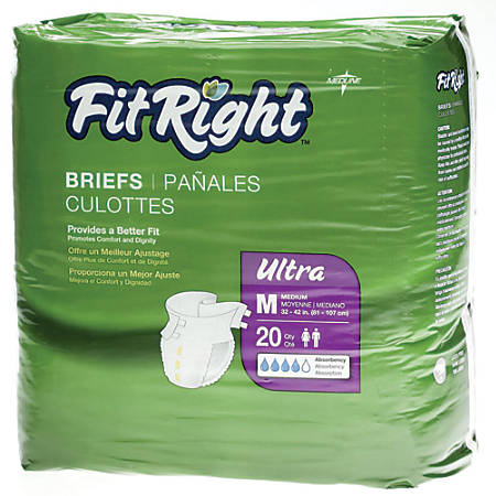 "FitRight Ultra Briefs, Medium, 32 - 42"", White, Bag Of 20"