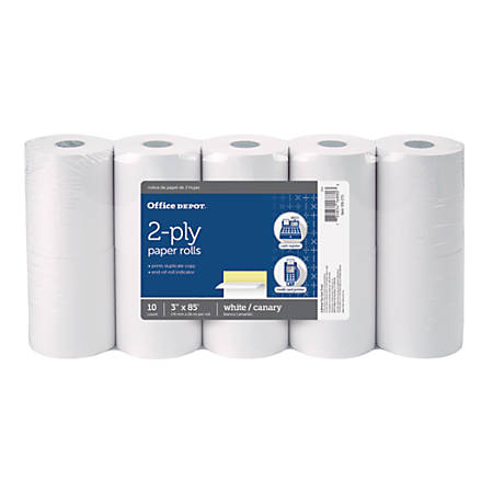"Office Depot® 2-Ply Paper Rolls, 3"" x 85', Canary/White, Pack Of 10"