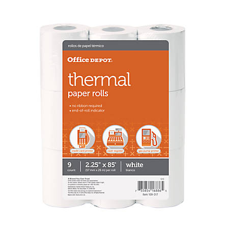 "Office Depot® Brand Thermal Paper Rolls, 2 1/4"" x 85', White, Pack Of 9"