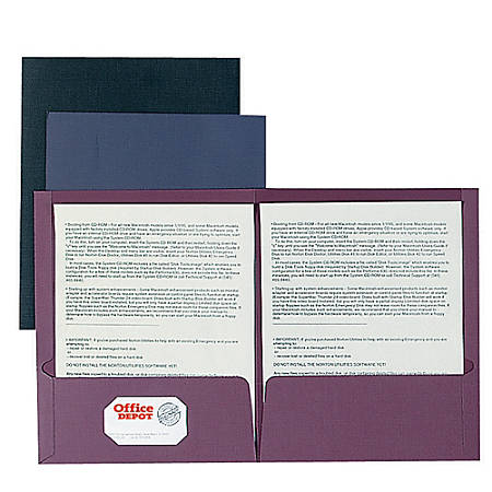 Oxford® Linen-Like Twin-Pocket Portfolios, 40% Recycled, Black, Pack Of 5