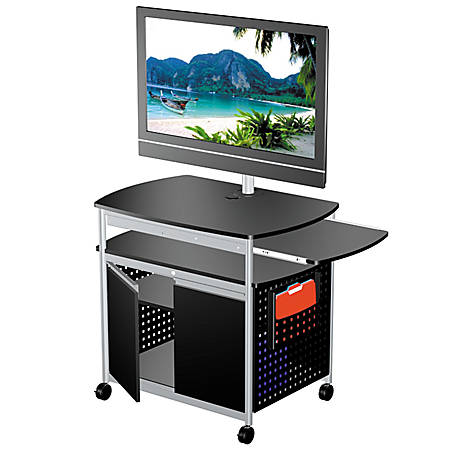 Safco® Scoot™ Mobile Audio/Visual Cart, With Cabinet, Black