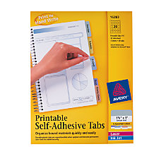 Avery Printable Self Adhesive Tabs Multicolor