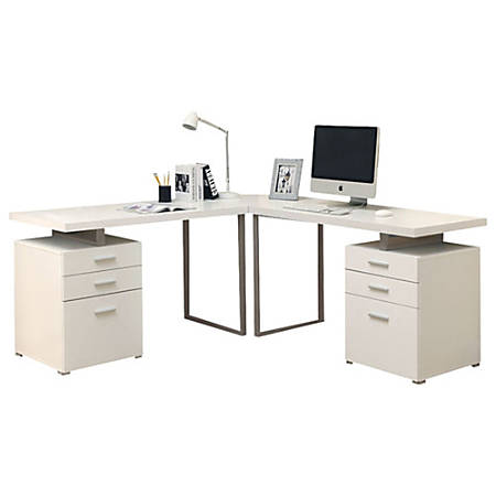 Monarch Specialties L Shaped Computer Desk With File Drawers White Item 110246