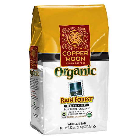 Copper Moon Coffee Whole Bean Coffee, Rainforest Reserve Fair Trade, 2 Lb Per Bag, Case Of 4 Bags