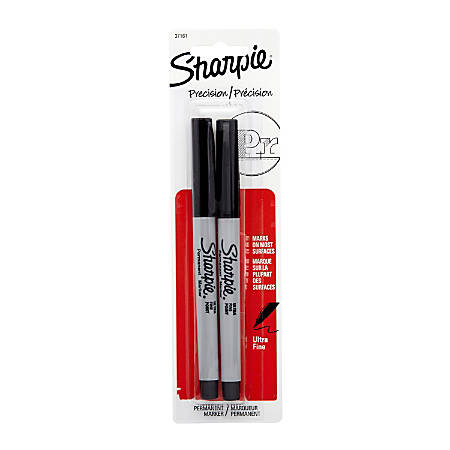 Sharpie® Permanent Ultra-Fine Point Markers, Black, Pack of 2 Markers