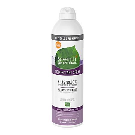 Seventh Generation Lavender/Thyme Disinfectant Spray - Spray - 0.11 gal (13.90 fl oz) - Lavender Vanilla & Thyme Scent - 1 Each - Clear