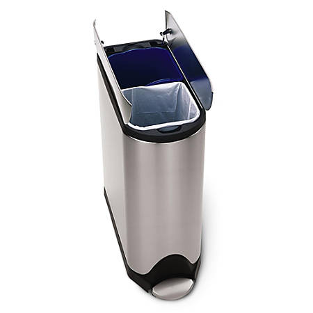 simplehuman Butterfly Step Fingerprint-Proof Brushed Stainless Steel Recycler And Trash Bin, 10.6 Gallons