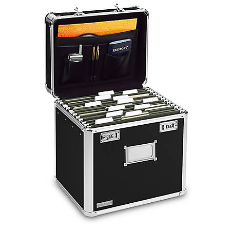 Ideastream Locking Letter File Box, Letter Size, Black/Chrome