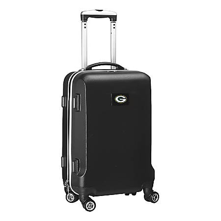 """Denco 2-In-1 Hard Case Rolling Carry-On Luggage, 21""""H x 13""""W x 9""""D, Green Bay Packers, Black"""