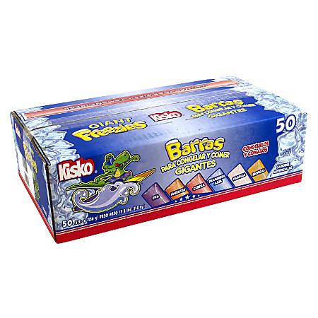 Kisko Freezies Freeze Pops, Giant, 5.5 Oz, Box Of 50, Assorted