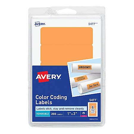 "Avery® Removable Laser/Inkjet Organization Labels, Color-Coding, 5477, 1"" x 3"", Neon Orange, Pack Of 200"