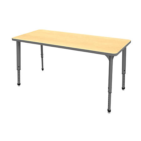 """Marco Group™ Apex™ Series Rectangle Adjustable Table, 30""""H 72""""W x 30""""D, Maple/Gray"""