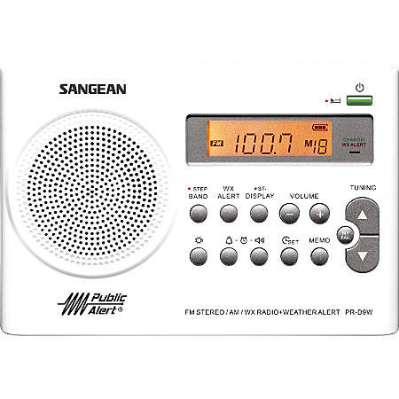 Sangean PR-D9W Radio Tuner - 19 PresetsLCD Display - Headphone - 4 x AA