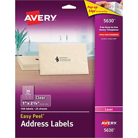 "Avery® Easy Peel® Permanent Laser Address Labels, 5630, 1"" x 2 5/8"", Clear, Pack Of 750"