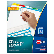 Avery Print Apply Clear Label Dividers