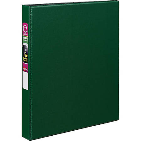 "Avery® Durable Binder With EZ-Turn™ Rings, 8 1/2"" x 11"", 1"" Rings, 45% Recycled, Green"