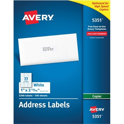 Avery Copier Permanent Address Labels 5351 1 X 2 1316 White Pack Of