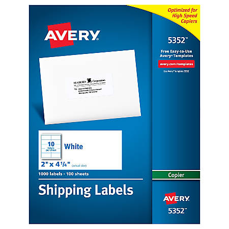 Avery copier permanent address labels 5352 2 x 4 14 white for Avery 5352 template