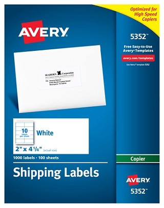 avery copier permanent address labels 5352 2 x 4 14 white pack of