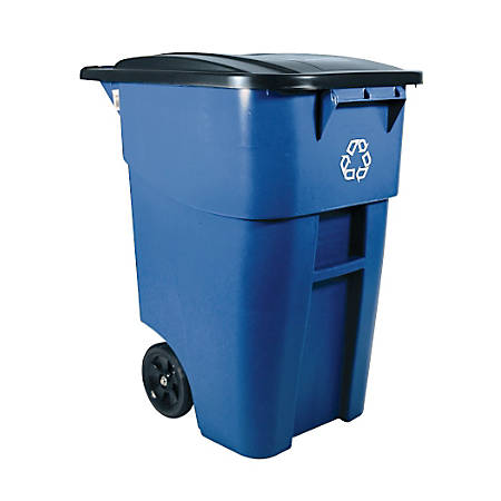 "Rubbermaid® Square Brute® Big Wheel® ""We Recycle"" Container, 50 Gallons, 46 4/5""H x 23 3/10""W x 23 5/8""D, Blue"