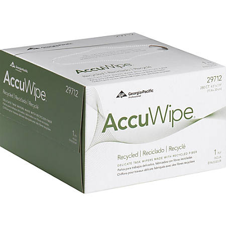 AccuWipe Delicate Task Wipers - For Precision Part, Instrument, Lens - Absorbent, Soft, Non-abrasive, Disposable, Streak-free - Fiber - 280 / Box - 16800 / Carton - White