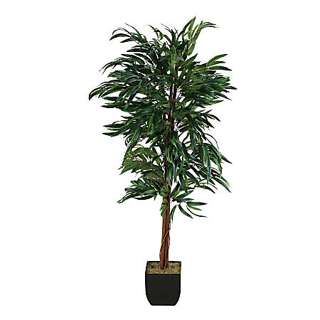 Realspace™ 6' Weeping Ficus Tree With Metal Planter, Black/Green