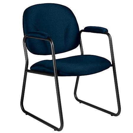 """Global® Solo™ Fabric Guest Chairs With Arms, 34""""H x 22""""W x 25""""D, Black Frame, Blue Fabric, Carton Of 2"""