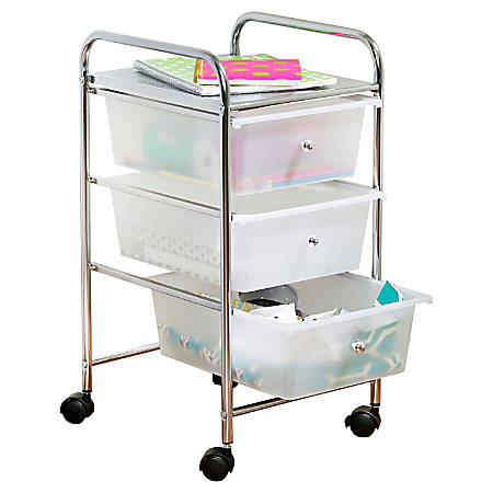 "Honey-Can-Do 3-Drawer Plastic/Steel Rolling Storage Cart, 37 7/16""H x 15 5/16""W x 13""D, White/Chrome"