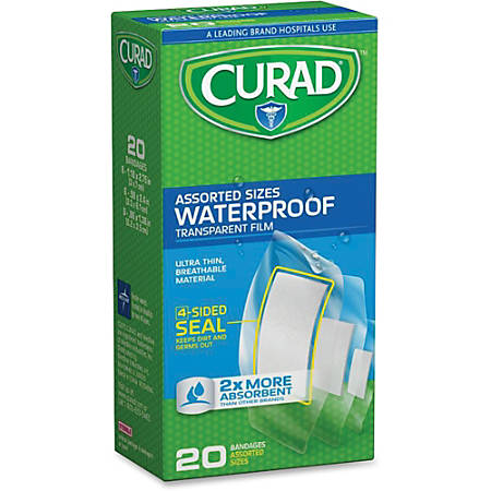 Curad Assorted Waterproof Transparent Bandages - 20/Box - Transparent - Polyurethane