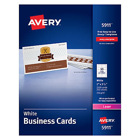 """Avery® Laser Microperforated Business Cards, 2"""" x 3 1/2"""", White, Pack of 2,500"""