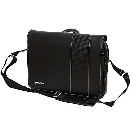 "Mobile Edge Slimline Carrying Case (Messenger) for 14.1"" Ultrabook - Black, White - Koskin Leather - Shoulder Strap - 11.6"" Height x 15"" Width x 3"" Depth"