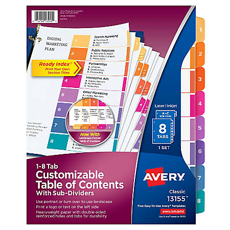 "Avery® Ready Index® Table Of Contents Dividers With Sub-Dividers, 8 1/2"" x 11"", Multicolor, 8 Tabs Per Set"