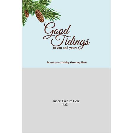Flat Photo Greeting Card, Good Tidings Pinecone, Vertical