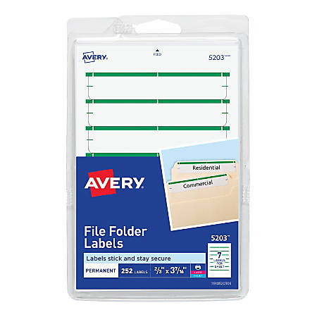 "Avery® Print-Or-Write Permanent Inkjet/Laser File Folder Labels, 5203, 5/8"" x 3 1/2"", Green, Pack Of 252"