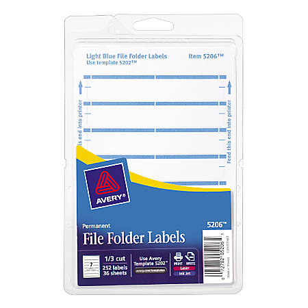 Avery Print Or Write Permanent Inkjetlaser File Folder Labels 5206