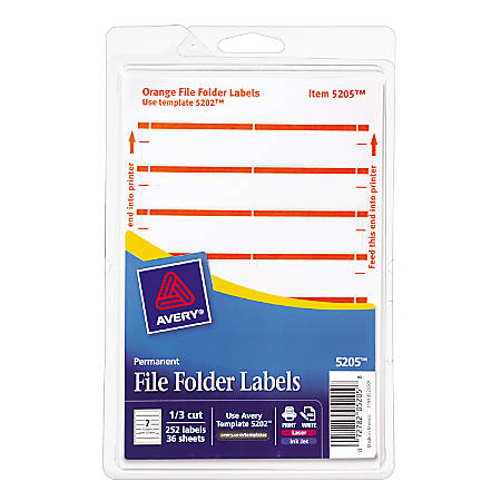 "Avery® Print-Or-Write Permanent Inkjet/Laser File Folder Labels, 5205, 5/8"" x 3 1/2"", Orange, Pack Of 252"
