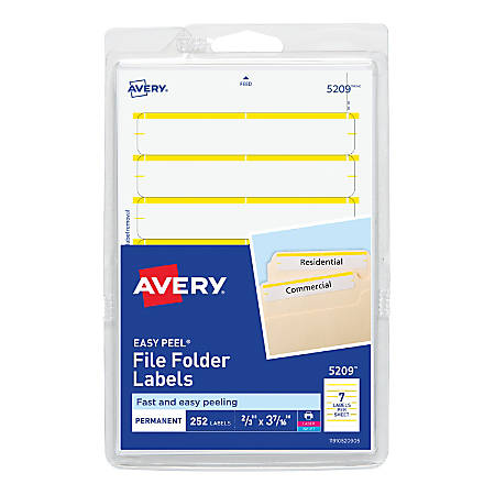 "Avery® Print-Or-Write Permanent Inkjet/Laser File Folder Labels, 5209, 5/8"" x 3 1/2"", Yellow, Pack Of 252"