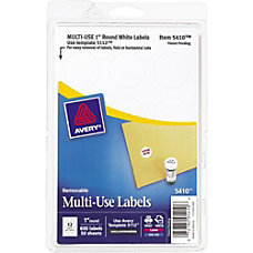 Avery Removable Round Multipurpose Labels 5410