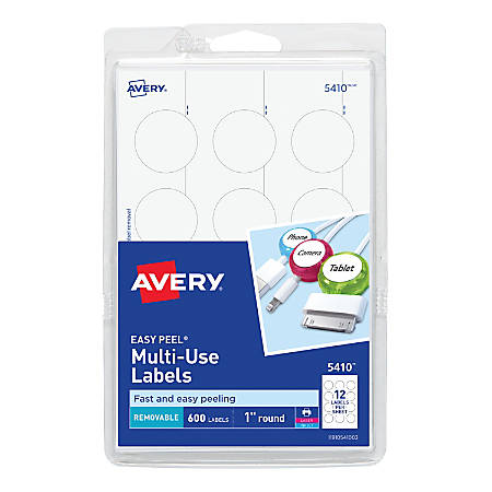 """Avery® Removable Round Multipurpose Labels, 5410, 1"""" Diameter, White, Pack Of 600"""