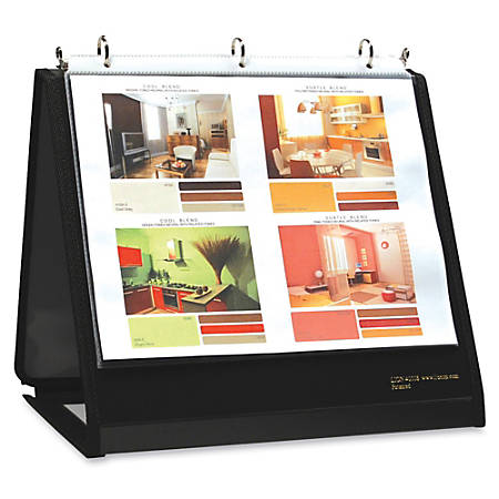 """Lion Insta-Cover Ring Easel Binder, 3/4"""" Rings, 30% Recycled, Black"""