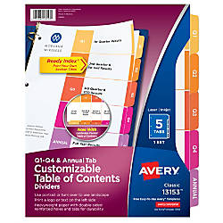 Avery Ready Index Quarterly Preprinted Dividers