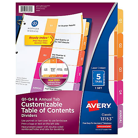 Avery® Ready Index® Quarterly Preprinted Dividers, Letter Size, White, Pack Of 5