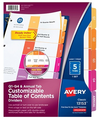 avery ready index quarterly preprinted dividers letter size white