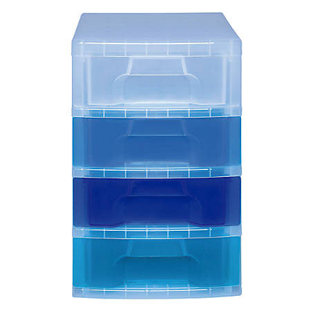 """Really Useful Box® Tower Drawer, 4 Drawers, 7 Liters, 18""""H x 15 3/4""""W x 12""""D, Clear Blue"""