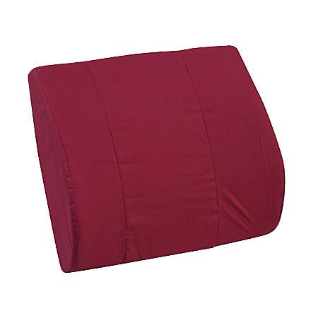 "DMI Memory Foam Lumbar Pillow Back Support Cushion, 3""H x 14""W x 13""D, Burgundy"